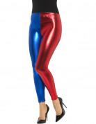 Zweifarbige Harlekin-Leggings rot-blau