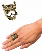 Totenschädel-Ring mit Krone Piratenschmuck gold 1,8cm