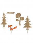 Kuchendekoration Wald 5 Stück braun-orange