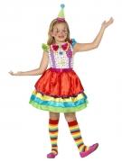 Lustiges Clown-Mädchen Kinderkostüm bunt
