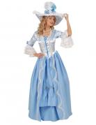 Rokoko Damenkostüm in Theaterqualität weiss-blau