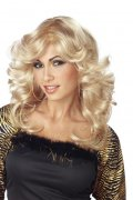 Föhnwelle Disco Perücke blond