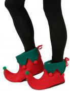 Elfen Schuhüberzieher mit Bommeln Kostüm-Accessoire rot-grün