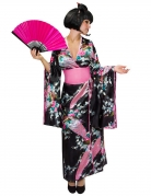 Japanerin-Damenkostüm Kimono schwarz-rosa