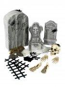 Friedhof Grabstein Skelett Halloween Partydeko-Set 21-teilig bunt