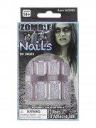 Zombie Fingernägel Halloween-Makeup 12 Stück grau