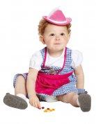 Tiroler Mini Hut Kinderhut rosa-weiss
