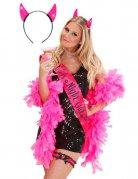 Haarreif Teufelshörner Junggesellinnen-Abschied pink-schwarz