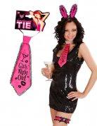 Satin-Krawatte Girls Night Out Junggesellinnen-Abschied pink-schwarz