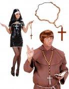 Karneval Rosenkranz Kreuz braun-schwarz
