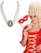 Barock Kamee-Perlenkette weiss-gold