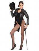 Satin-Frack für Damen Showgirl schwarz
