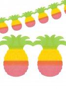 Girlande Ananas Hawaii Party-Deko grün-gelb-pink 400x20cm