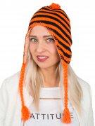 Mütze mit Ohrenschützern Neon gestreift schwarz-orange