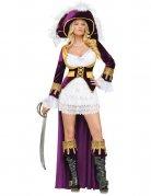 Barock Piraten Königin Damenkostüm lila-weiss-gold
