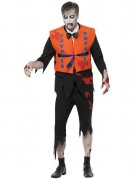 Zombie Schiffbrüchiger Kostüm schwarz-orange-rot