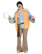 60er 70er Hippie Kostüm XL orange-braun