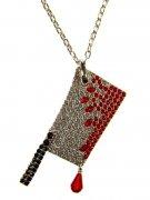 Kreepsville Gothic Halskette Hackbeil silber-rot