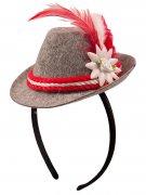 Oktoberfest Haarreif mit Mini-Hut rot-weiss-grau