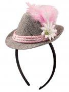 Oktoberfest Haarreif mit Mini-Hut rosa-weiss-grau