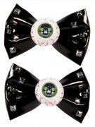 Kreepsville-Haargummis Augen mit Schleifen Halloween-Haarschmuck 2 Stück schwarz-weiss