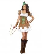 Mittelalter Bogenschützin Damenkostüm braun-weiss