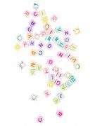 Loom Beads Dekoperlen mit Buchstaben Geschenkidee 50 Stück weiss-bunt