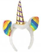 Einhorn Haarreif mit Ohren und Horn weiss-bunt