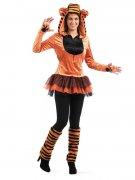 Wildkatze Tiger Damenkostüm schwarz-orange
