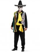 Tag der Toten Mexikaner Halloween Kostüm schwarz-bunt