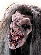 Dämonischer Vampir Halloween Latexapplikation rot-weiss
