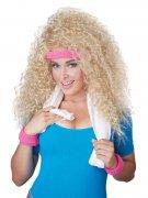 80er Langhaar Locken-Perücke mit Stirnband blond