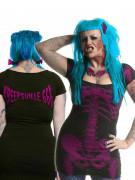 Kreepsville-Kleid Skelettkleid schwarz-lila