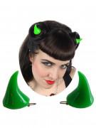 Kreepsville-Haarclips Teufelshörner 2 Stück grün 3,5cm