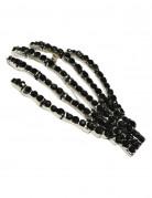 Kreepsville Gothic Brosche Skeletthand schwarz-silber