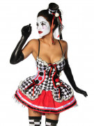 Sexy Harlekin Damenkostüm rot-schwarz-weiss