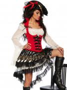 Heisse Freibeuterin Piratenbraut Damenkostüm rot-schwarz