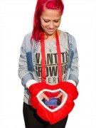 Herzen-Handschuh mit Smartphone Fenster rot-weiss 36x25cm