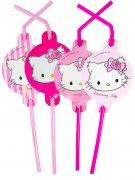 Strohhalme Trinkhalme Charmmy Kitty 8 Stück rosa-pink 24cm