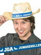 Strohhut Junggesellenabschied JGA beige-blau