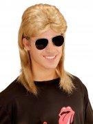 80er Jahre Vokuhila Perücke mit Brille blond-schwarz