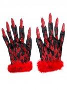 Glitzer Teufelin Handschuhe rot-schwarz