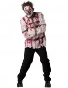 Psycho Clown Zwangsjacke Halloween Kostüm weiss-braun-rot