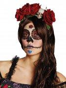 Gothic Halloween Haarreif Rosen und Totenköpfe rot-weiss