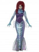 Zombie-Meerjungfrau Halloween Damenkostüm blau-weiss