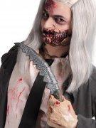 Gezacktes Messer Dolch Halloween-Waffe grau 36x6cm