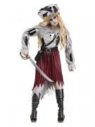 Geister-Piratin Halloween-Damenkostüm Zombie grau-rot
