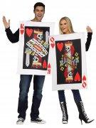 Herz-König und Herz-Königin Pärchen-Kostüm Spielkarten weiss-rot-schwarz
