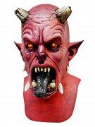 Höllischer Dämon Halloween Latex-Maske Teufel schwarz-rot-beige