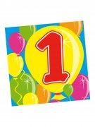 1. Geburtstag Servietten Party-Deko Kindergeburtstag 20 Stück bunt 25x25cm